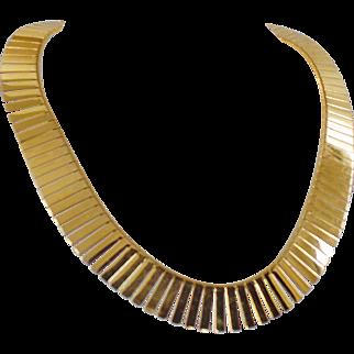 Vintage Gold Fringe Egyptian Revival Necklace. Egyptian Revival Shiny Gold Fringe Choker. Chunky Gold Choker.