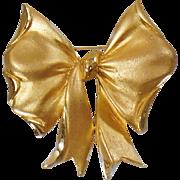 Vintage Large Gold Bow Brooch. Big Bold Brushed Gold Bow Pin. Gift Ribbon. Christmas. Holiday.