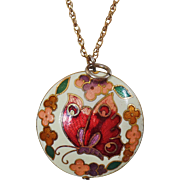 Vintage Cloisonne Butterfly Pendant Necklace. Round Two Sided Butterfly Cloisonne Enamel Pendant and Chain Necklace.