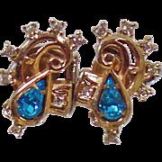 Vintage Aqua Blue Rhinestone Earrings. Barclay. Clear and Aqua Blue Rhinestone Earrings.