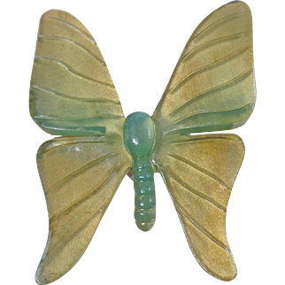 Vintage Large Green Blue Celluloid Butterfly Brooch. Foiled Back Large Blue Green Butterfly Pin.