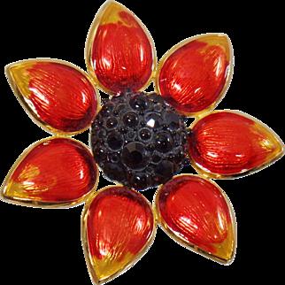 Vintage Swarovski Black Eyed Susan Flower Brooch. Gold Plated Orange Yellow Black Enamel Swarovski Rhinestone Flower Pin. Signed.
