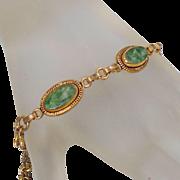 Vintage Jade Bracelet. 1/20 12k GF. Green Jade Link Bracelet. Nephrite Jade Bracelet.
