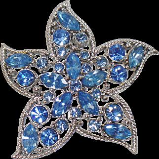 Vintage Star Fire Starfish Brooch. Sarah Coventry. Silver Pale Blue Rhinestone Starfish Pin. Blue Rhinestone Star Brooch.