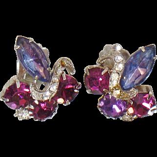 Vintage Purple Blue Lavender Rhinestone Earrings. Amethyst Purple Rhinestones. Lavender Rhinestones Earrings.