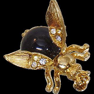 Vintage Trembler Bee Brooch. Rhinestone Wiggly Wings Bee Pin. Flying Insect Bug Rhinestone Brooch.