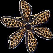 Vintage Pell Black Gold Flower Brooc 24k Gold Plated Black Rhinestones Black Enamel Flower Pin by Pell
