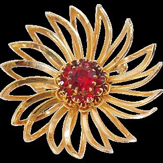 Vintage Deep Burgundy Rhinestone Flower Brooch. Sarah Coventry. Gold Red Rhinestone Flower Pin.