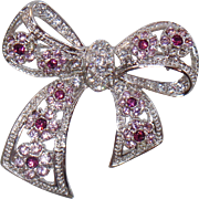 Vintage Purple Rhinestone Bow Brooch. Silver Plated Lavender Purple Rhinestone Bow Pin.