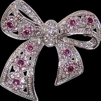 Vintage Purple Rhinestone Bow Brooch. Silver Plated Lavender Purple Rhinestone Bow Pin.