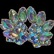 Vintage AB Rhinestone Earrings. Aurora Borealis Rhinestones Earrings.