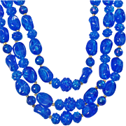 Vintage Bright Blue Three Strand Lucite Necklace. Hong Kong. Blue Crackle Lucite Bead Necklace.