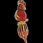 Vintage Large Enamel Bird Brooch. Brown Orange Rust Gold Enamel Parrot Bird Pin.