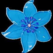 Vintage Large Aqua Blue Flower Brooch. Blue Enamel Flower Power Pin. Mod Flower Brooch with Rhinestone.