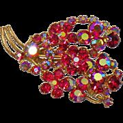 Vintage Pink Rhinestone Austrian Flower Brooch. Signed Austria. Hot Pink AB Rhinestone Floral Gold Plated Pin.