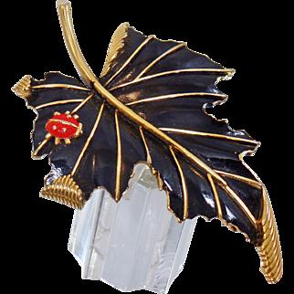 Vintage Crown Trifari Black Leaf with Ladybug Brooch. Black Enamel Leaf and Red Lady Bug Pin