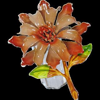 Vintage Large Brown Flower Brooch. Brown Enamel Flower Power Pin. Mod Flower Brooch.