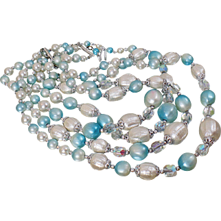 Vintage Four Strand Ice Blue Bead Necklace. Japan. Pale Blue Pearl Austrian Crystal 4 Strand Necklace.