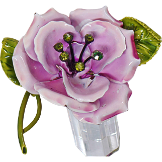 Vintage Lavender and Green Flower Brooch. Large Pale Purple Pink and Olive Green Rhinestone Flower Pin.