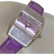 Vintage Purple Mod Ladies Watch. Rumours. Purple Leather and Silver Tone Ladies Watch.