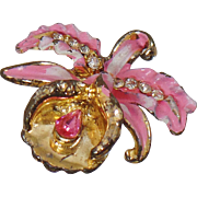 Vintage Pink Enamel Orchid Flower Brooch. Pot Metal Hand Painted Pink Orchid Pin.