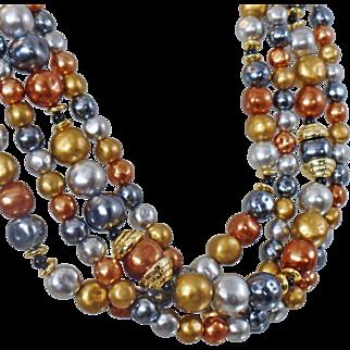 Vintage Copper Gold Silver Gray Pearl Necklace. Silver Gold Gray Copper Faux Pearls. Bride Wedding