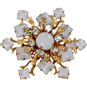 Vintage White Glass Moonstone Rhinestone Brooch. Snowflake Star Moonstone Rhinestone Pin.