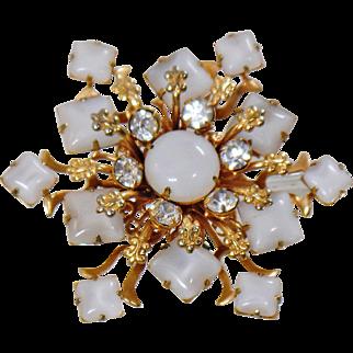 Vintage White Glass Moonstone Rhinestone Brooch. Snowflake Star Moonstone Rhinestone Pin.
