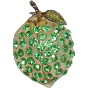 Vintage Forbidden Fruit Lime Brooch.  Austrian Crystals.  Rare Forbidden Fruit Rhinestone Celluloid Lime Pin.