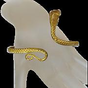 Vintage Egyptian Cobra Snake Bracelet. Gold Gilt on Brass Serpent Arm Cuff. Egyptian Revival.
