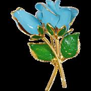 Vintage Gold Plated Blue Rose Brooch. 22k Gold Plated. Blue Rose Flower Pin