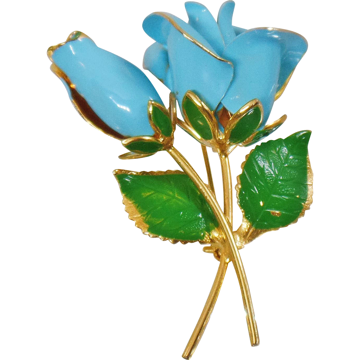 Vintage Gold Plated Blue Rose Brooch. 22k Gold Plated. Blue Rose Flower Pin