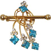 Vintage Aqua Blue and Clear Rhinestone Brooch.  Atomic Gold Plated 1940s Aqua and Clear Rhinestones Pin.