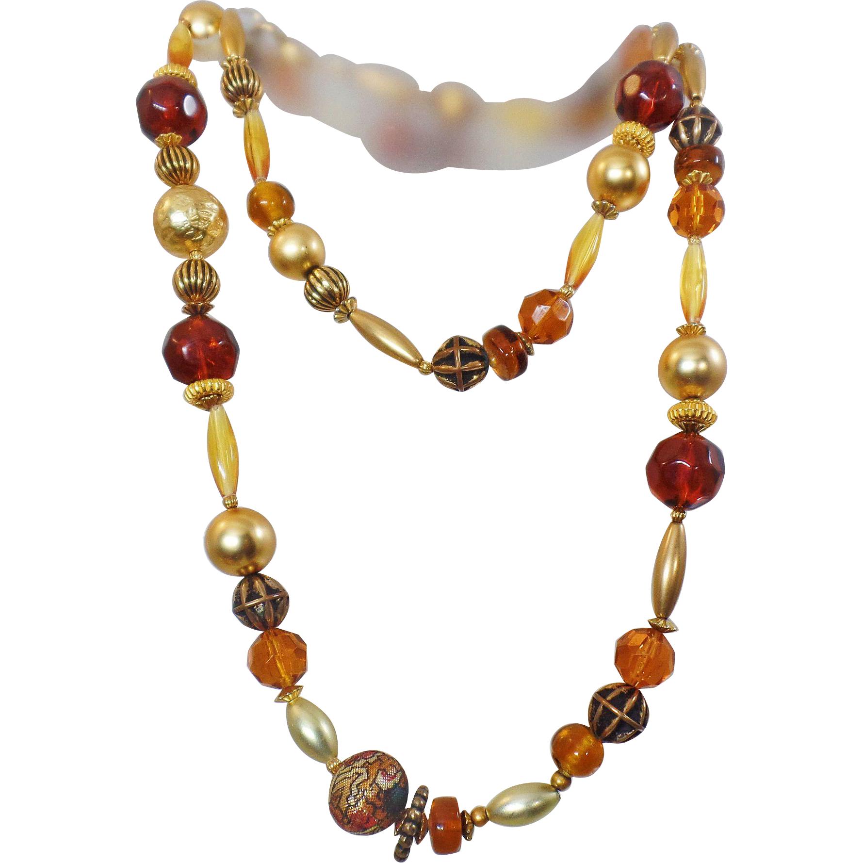 Vintage Long Gold Brown Amber Flapper Necklace. Art Glass Beads Necklace.