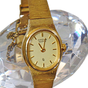 Vintage Gold Plated Citizen Ladies Watch Gold Plated Quartz Citizen Women's Watch.