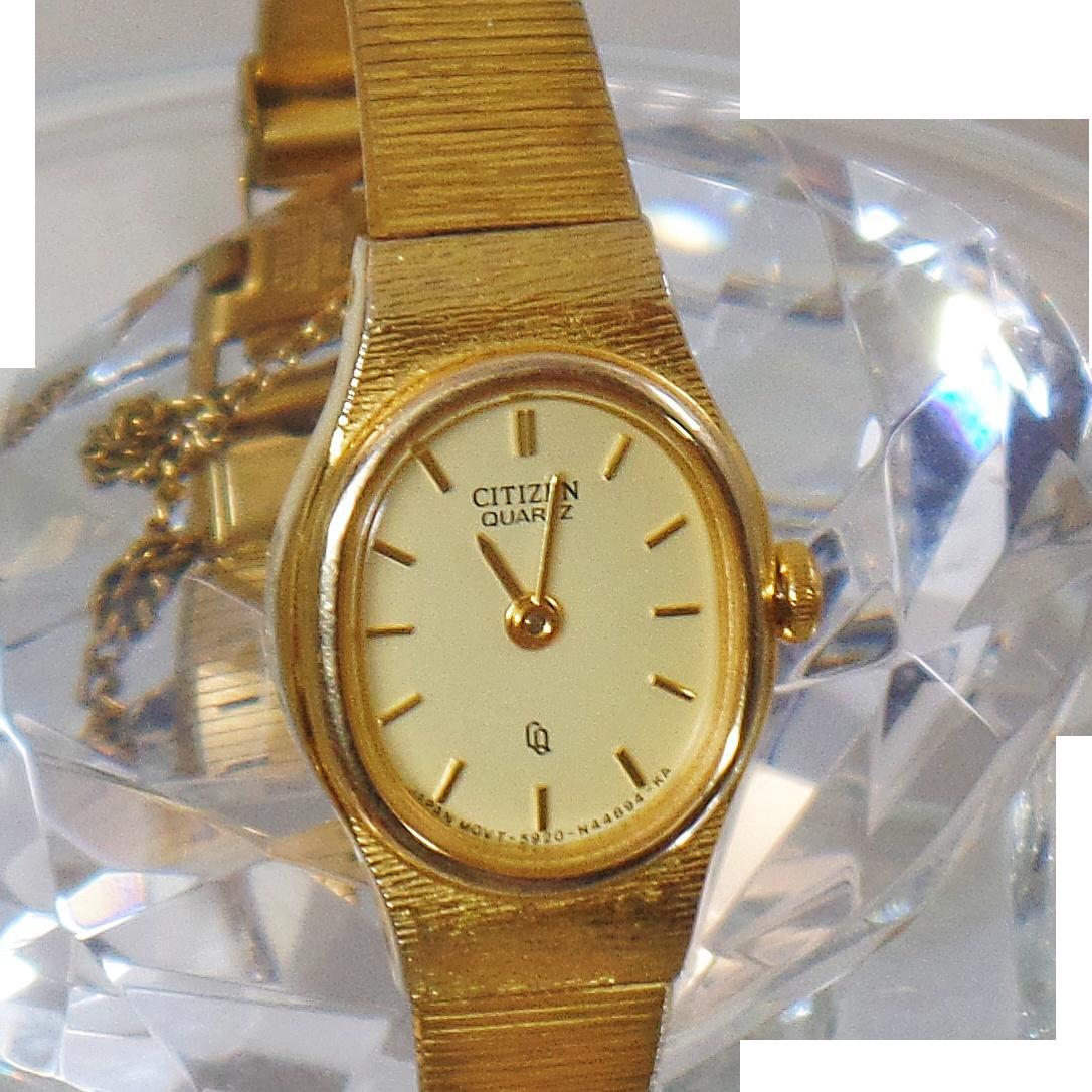 Vintage Gold Plated Citizen Ladies Watch Gold Plated Quartz Citizen Women's Watch.