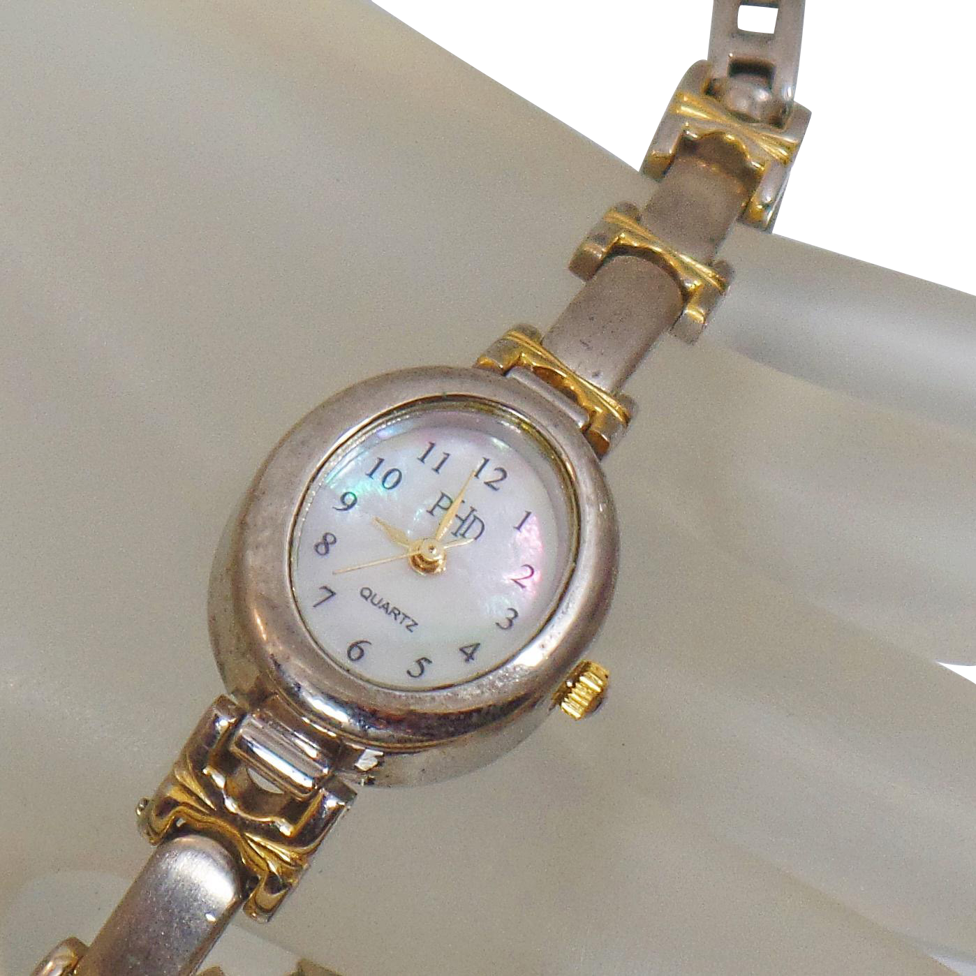 Vintage Mother of Pearl Shell Ladies Watch. PHD. Mother of Pearl Face and Band Wrist Watch. Silver and Gold Women's Watch.