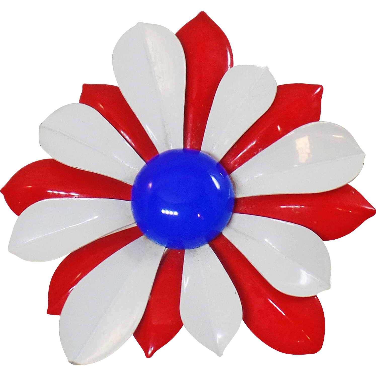 Vintage Large Red White Blue Flower Brooch. Mod Patriotic Flower Power Pin. USA Enamel Flower Brooch
