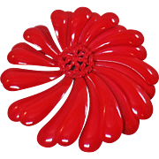 Vintage Red Swirl Flower Brooch. Large Red Enamel Flower Power Pin. Mod Red Flower Brooch.