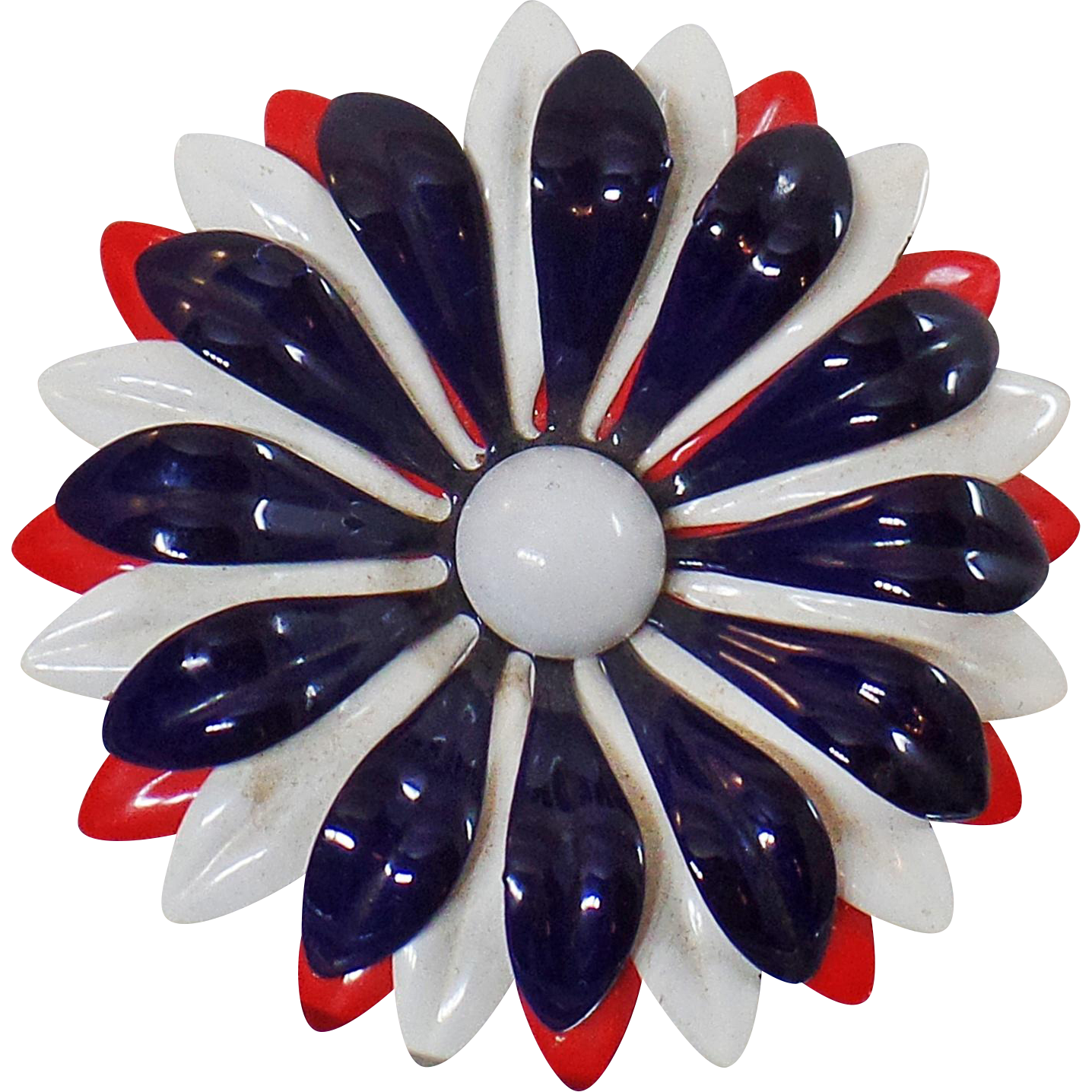 Vintage Large Red White Blue Flower Brooch. Mod Patriotic Flower Power Pin. USA Enamel Flower Brooch