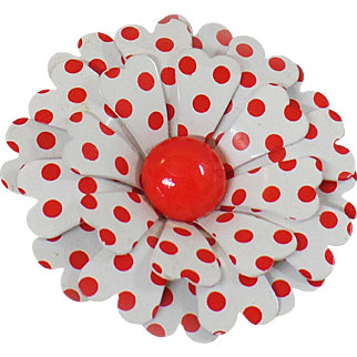 Vintage Red White Polka Dot Flower Brooch. 1970s Flower Power Enamel Pin.