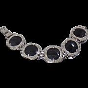 Vintage Judy Lee Bracelet.  Rare Textured Black Glass Silver Bracelet. 1950s Silver Plated Black Glass Cabochon Link Bracelet.