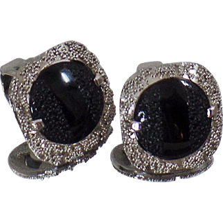 Vintage Judy Lee Earrings. Rare Textured Black Glass Silver Earrings. 1950s Silver Plated Black Glass Cabochon Earrings.