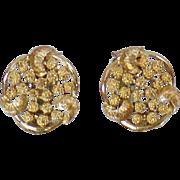 Vintage Coro Earrings. Textured Gold 1950s Coro Clip On Earrings.