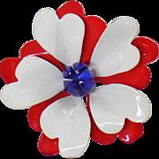 Vintage Flower Brooch. Large Scalloped Red White Blue Flower Brooch. Mod Patriotic Flower Pin. USA Enamel Flower Brooch