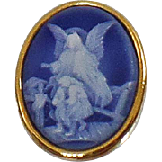 Vintage Blue Cameo Brooch. Guardian Angel Blue Cameo Pin.
