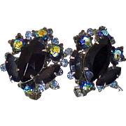 Vintage Judy Lee Black Rhinestone Earrings. 1950s Heliotrope Bead Black Rhinestone Clip On Earrings.