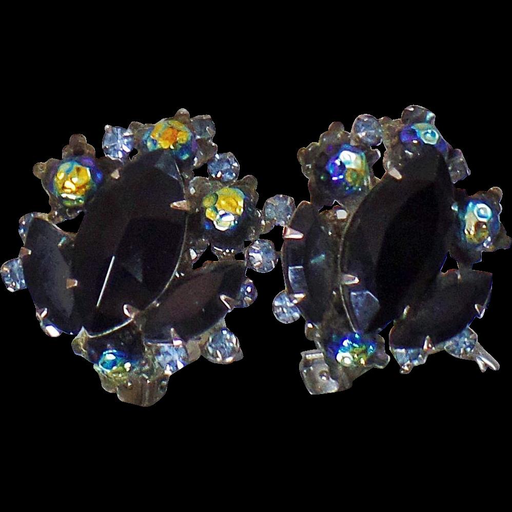 Vintage Judy Lee Black Rhinestone Earrings 1950s Heliotrope Bead Black  Rhinestone Clip On Earrings