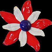 Vintage Flower Brooch. Large Red White Blue Flower Brooch. Mod Patriotic Flower Power Pin. USA Enamel Flower Brooch