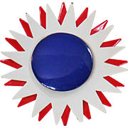 Vintage Flower Brooch. Spiky Large Red White Blue Flower Brooch. Mod Patriotic Flower Power Pin. USA Enamel Flower Brooch
